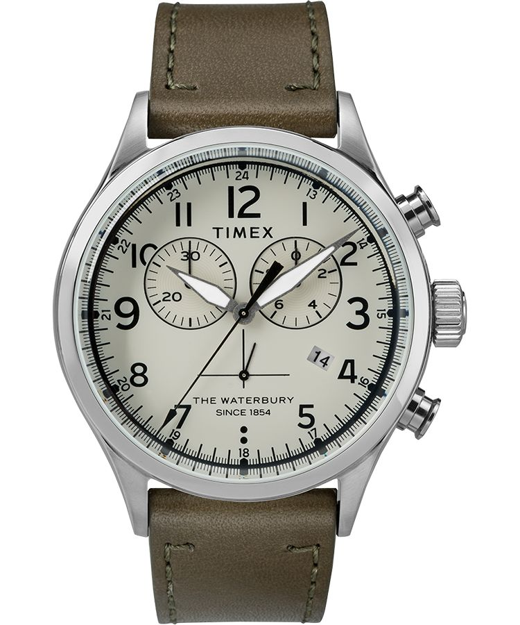 Waterbury Chrono 42mm Leather Watch - Steel/Green/Cream - OnwardReserve