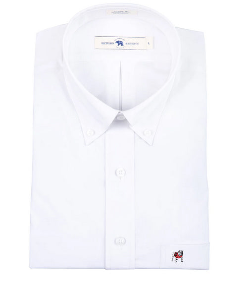 Standing Bulldog White Classic Fit Stretch Cotton Button Down