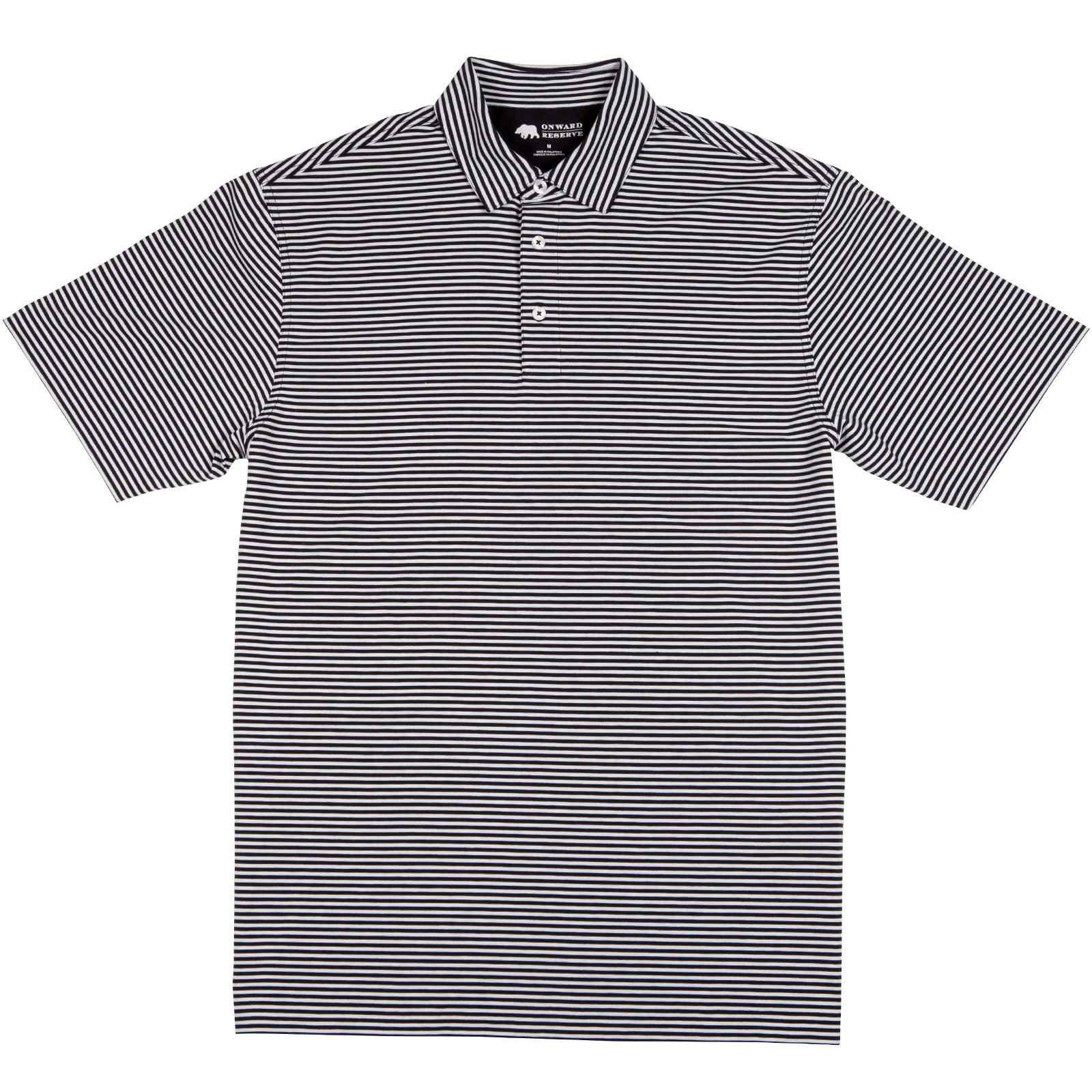 Pro Stripe Performance Polo - Black/White - OnwardReserve