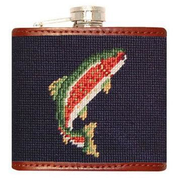 Trout & Fly Needlepoint Flask - OnwardReserve