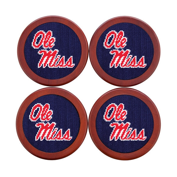Ole Miss Needlepoint Coasters - OnwardReserve