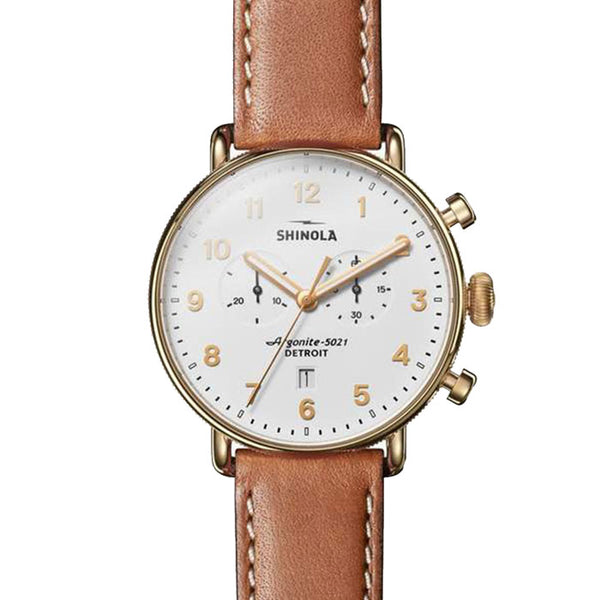 Canfield Chrono 43mm - White/Brown - OnwardReserve