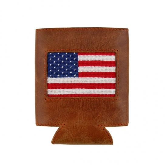 American Flag Needelpoint Can Cooler