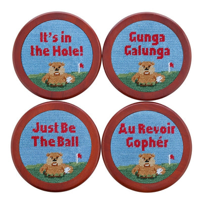 Gopher Golf Needlepoint Coasters