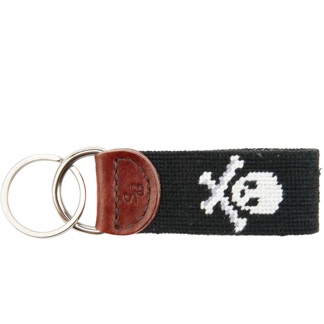 Jolly Roger Needlepoint Key Fob - Black
