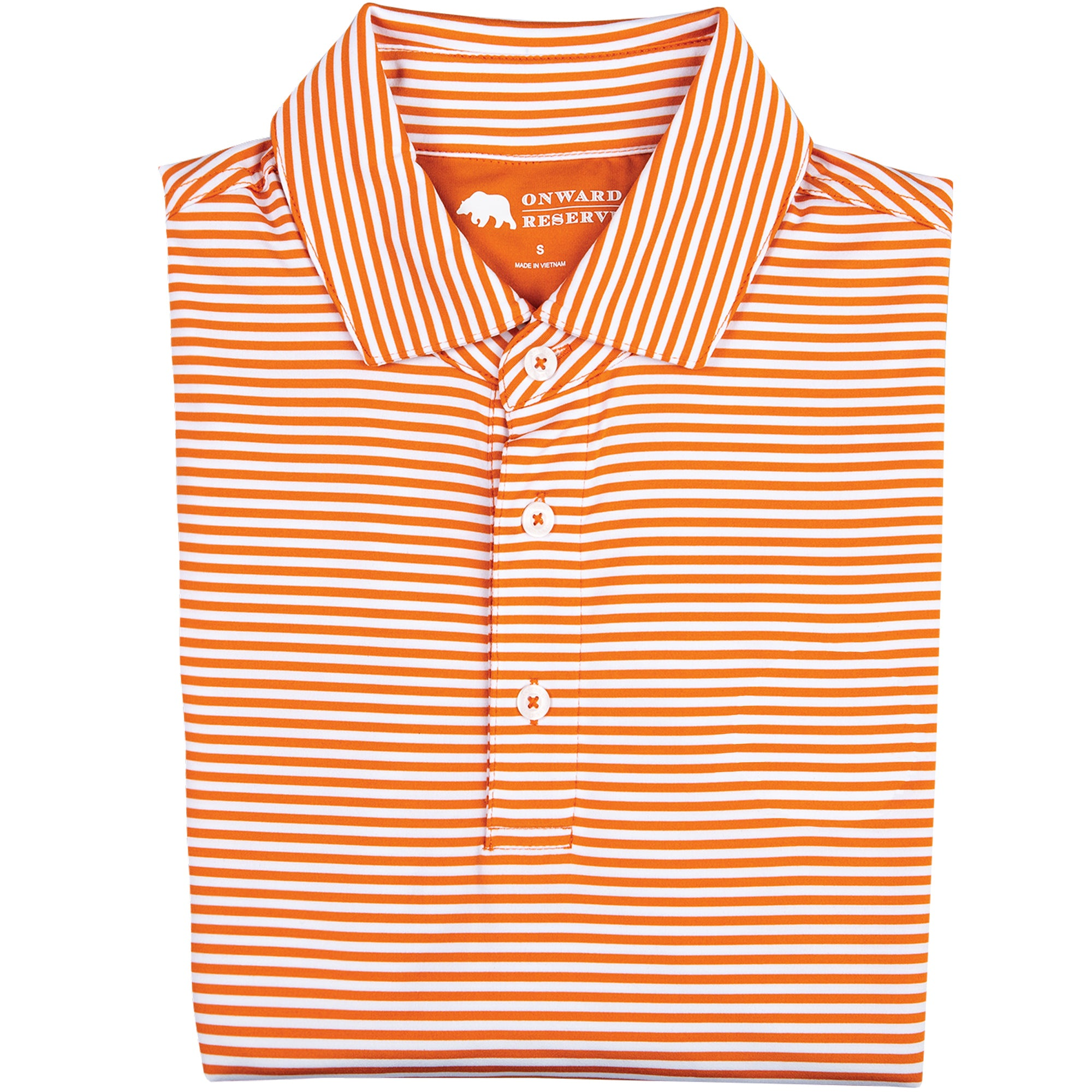 Pro Stripe Performance Polo - Orange/White - OnwardReserve