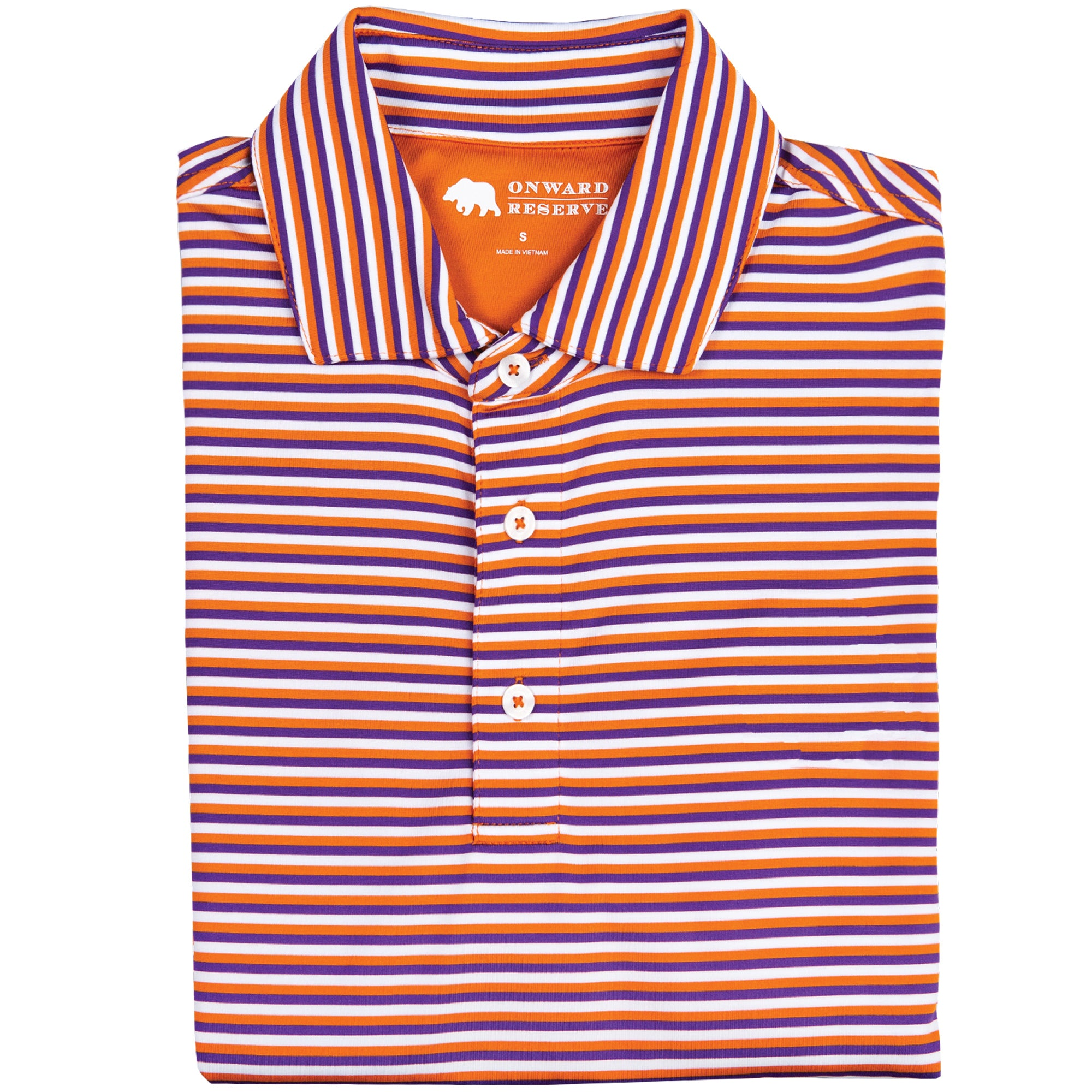 Triple Stripe Performance Polo - Orange/Purple - OnwardReserve