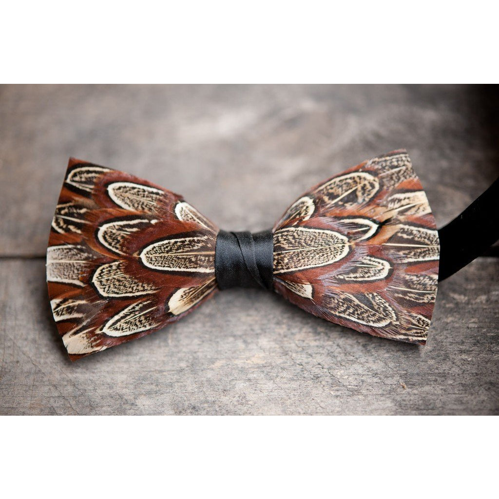 Phunky Pheasant Feather Bow Tie - OnwardReserve
