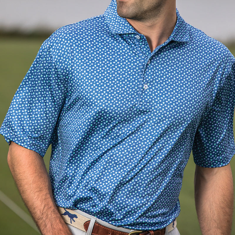 Ranch Water Printed Performance Polo