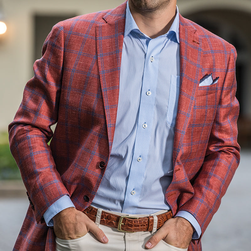 Loro Piana Red Windowpane Summertime Sport Coat