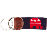 Republican Needlepoint Key Fob - Navy