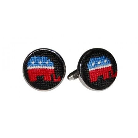Republican Needlepoint Cufflinks - Onward Reserve