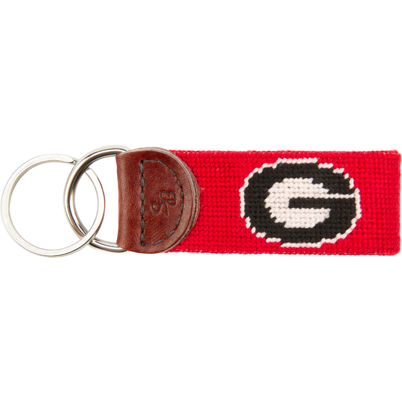 UGA Needlepoint Key Fob - Red - OnwardReserve