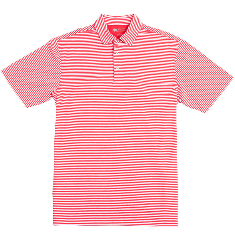 Pro Stripe Performance Polo - Red/White - OnwardReserve