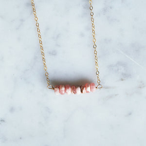 Rhodochrosite Bar Necklace