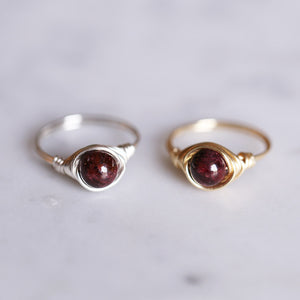 January Birthstone Ring - Garnet Ring