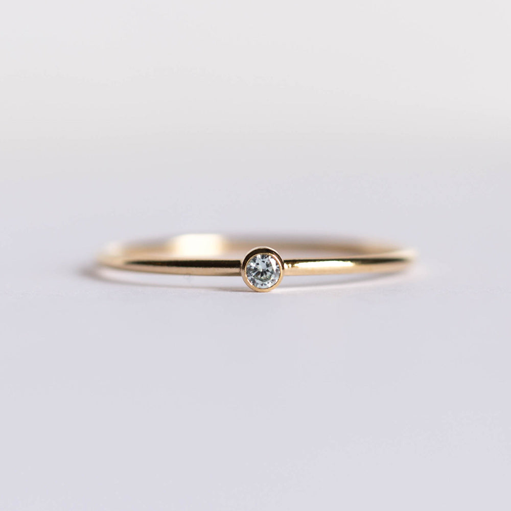 CZ March Birthstone Ring
