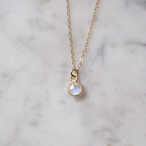 Minimal Moonstone Pendant Necklace