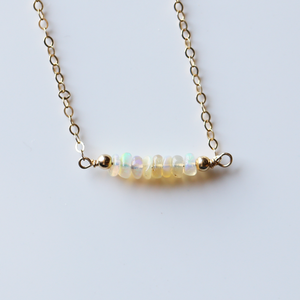 Genuine Ethiopian Opal Bar Necklace