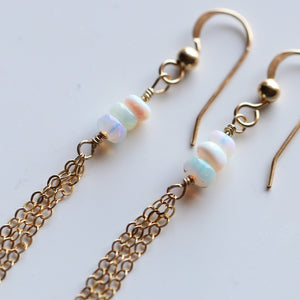 Genuine Opal Dangle Earrings with Chain Fringe