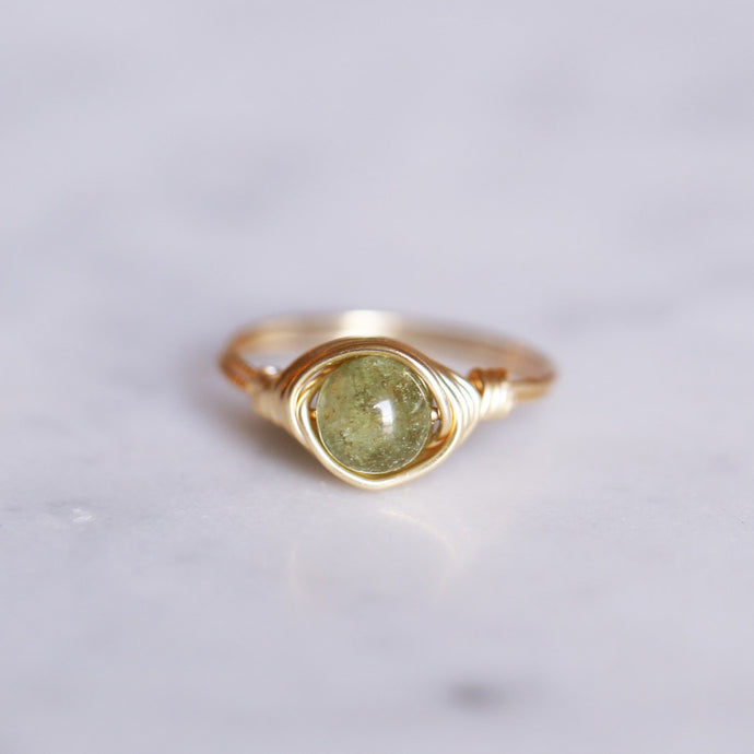 August Birthstone Ring - Peridot Ring