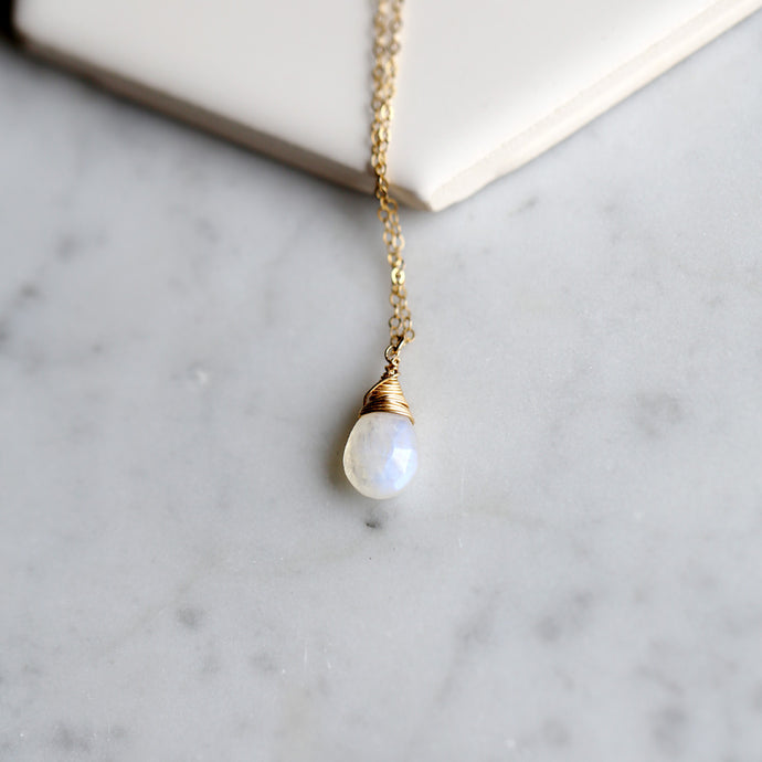 Rainbow Moonstone Teardrop Necklace