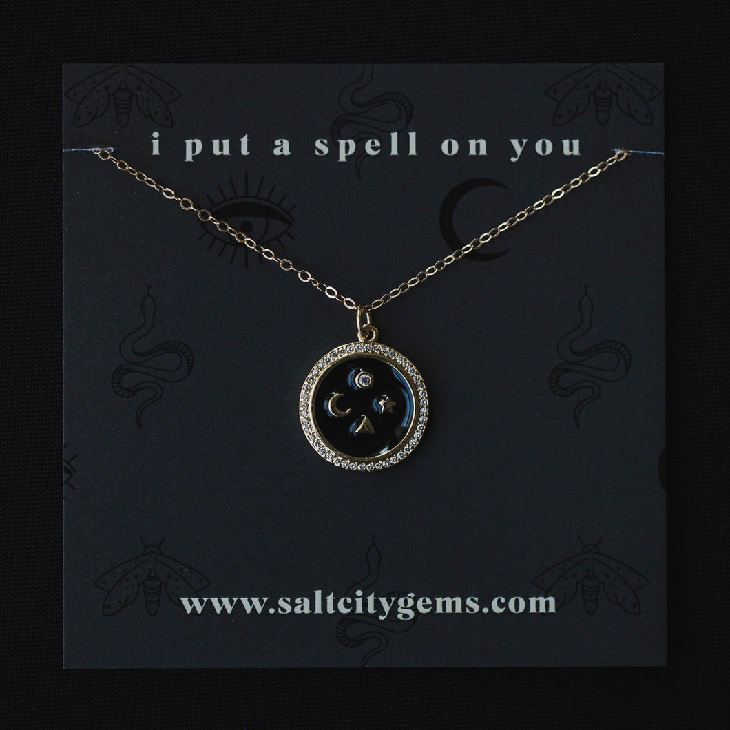 The Celestial Compass Necklace - Black