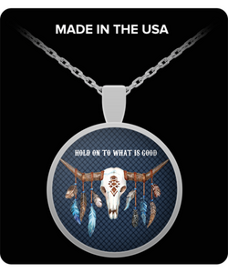 Even miracles take a little bit of time silver pendant motley hold on to what is good boho skull silver pendant aloadofball Choice Image