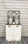 Tilt out trash bin double slim style white with stained top (400-W-ESP TOP)