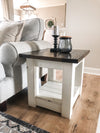 Farmhouse style chunky end table distressed