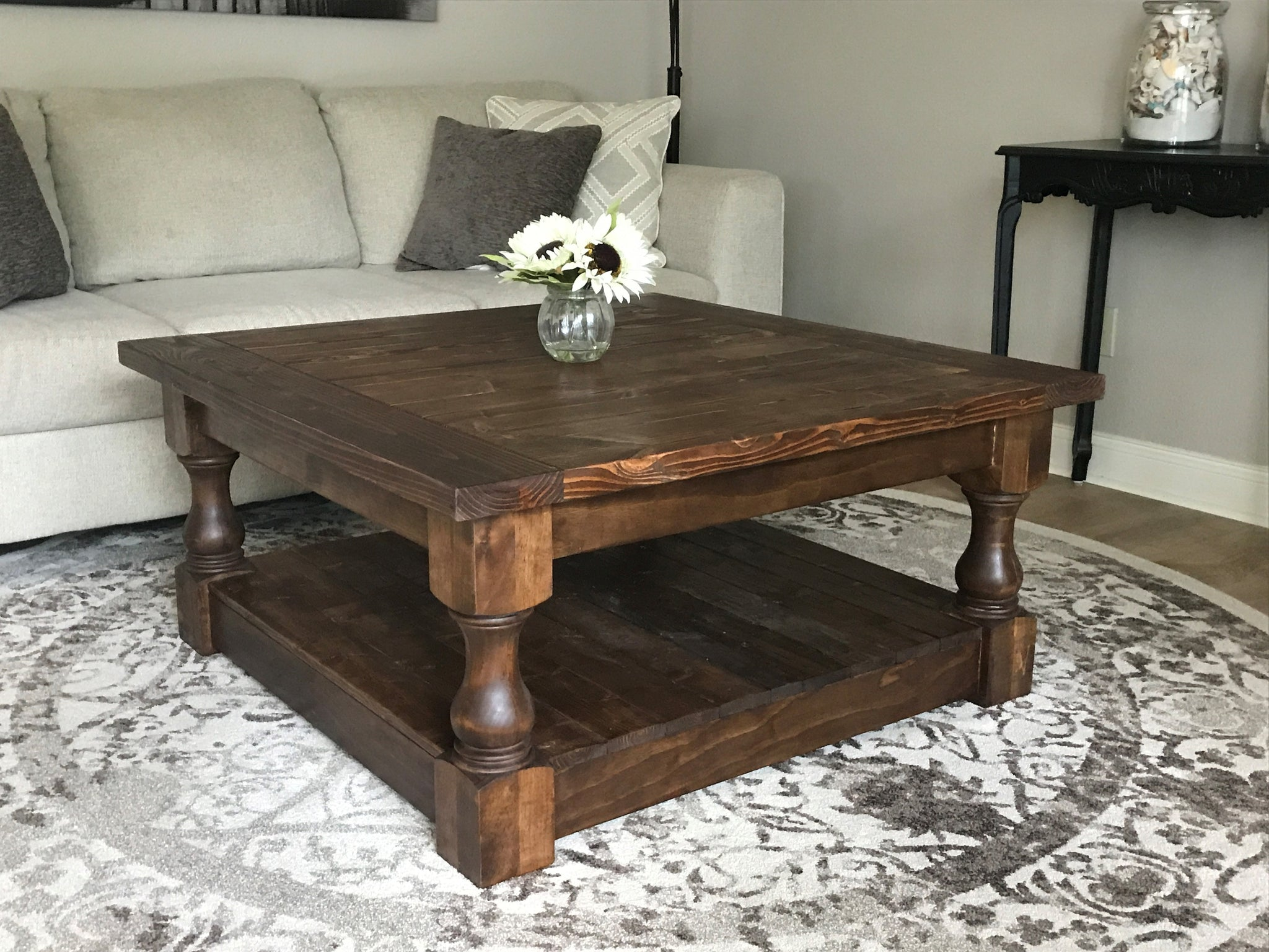 Rustic Coffee Table.Stained Farmhouse Style Rustic Coffee Table