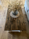 Rustic Baluster farmhouse Coffee Table distressed rectangle espresso butcher block top