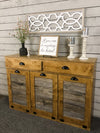 Triple tilt out trash bin with storage drawers golden oak (3REG-DRAW-GO)