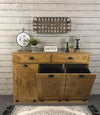 Triple tilt out trash bin with storage drawers golden oak (301-GO)