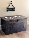 2 bowl 18 inch elevated dog feeder with storage extra-large (Espresso-FL-18)