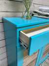 tilt out double bin with a drawer turquoise blue (201-AF)