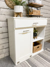 tilt out trash bin with a storage and shelf in white (201-SHELF-W)