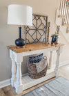 Entry table, console table, sofa table with baluster legs, golden oak