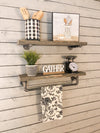 Pipe Shelf single shelf-aged barrel-towel bar pipe shelf set