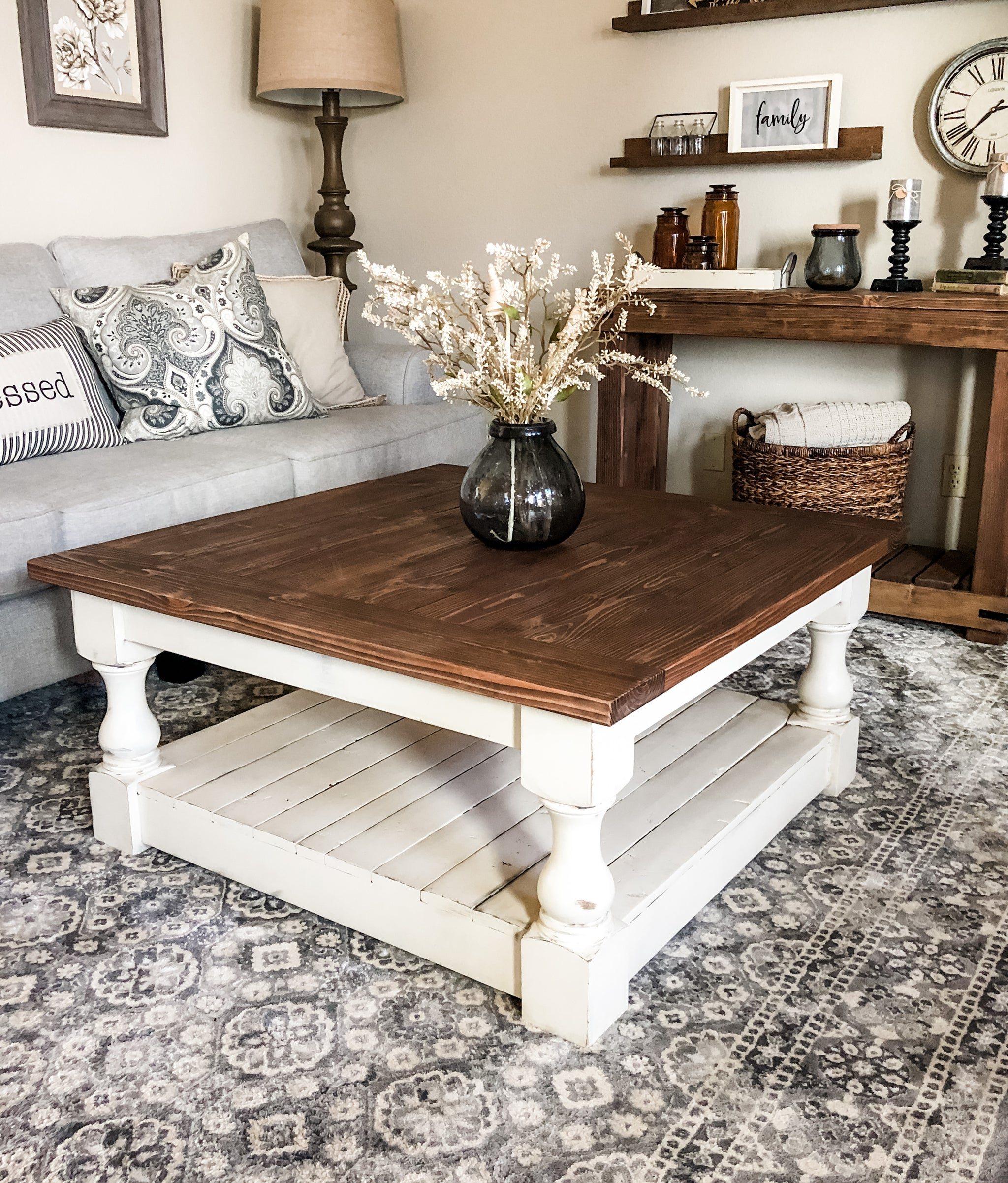 Rustic Baluster Farmhouse Coffee Table Special Walnut Square Lovemade14