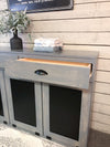 Triple size tilt out trash bin with storage drawers (3REG-DRAW-GrStain)
