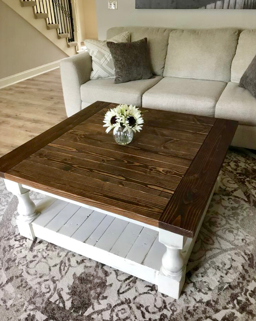 Rustic Baluster Farmhouse Coffee Table Provincial Lovemade14