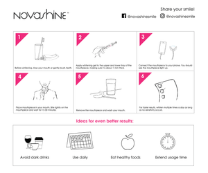 How to use Teeth whitening 3 month supply bundle (kit + refill) - instructions - Novashine