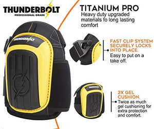 Knee Pads for Work by Thunderbolt for Construction, Flooring, Gardening, Cleaning with Double Gel Cushion and Strong Adjustable Straps