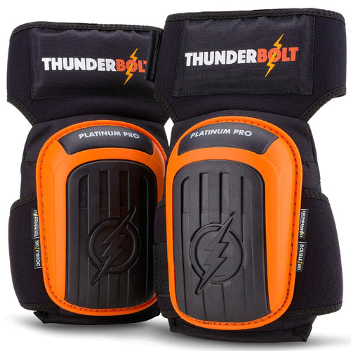 Knee Pads for Work by Thunderbolt for Construction, Flooring, Gardening, Cleaning, Tile Heavy Duty with Double Gel Cushion and Anti-Slip Straps