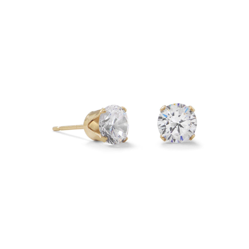 6mm CZ Stud Earrings 14/20 Gold Filled - Lierre Bridal Accessories