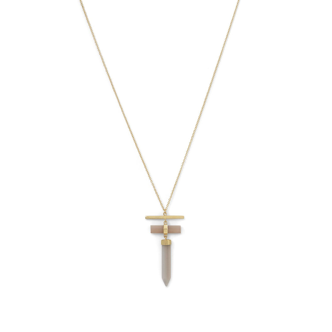 14K Gold Plated Pencil Cut Gray Moonstone Drop Necklace - Lierre Bridal Accessories