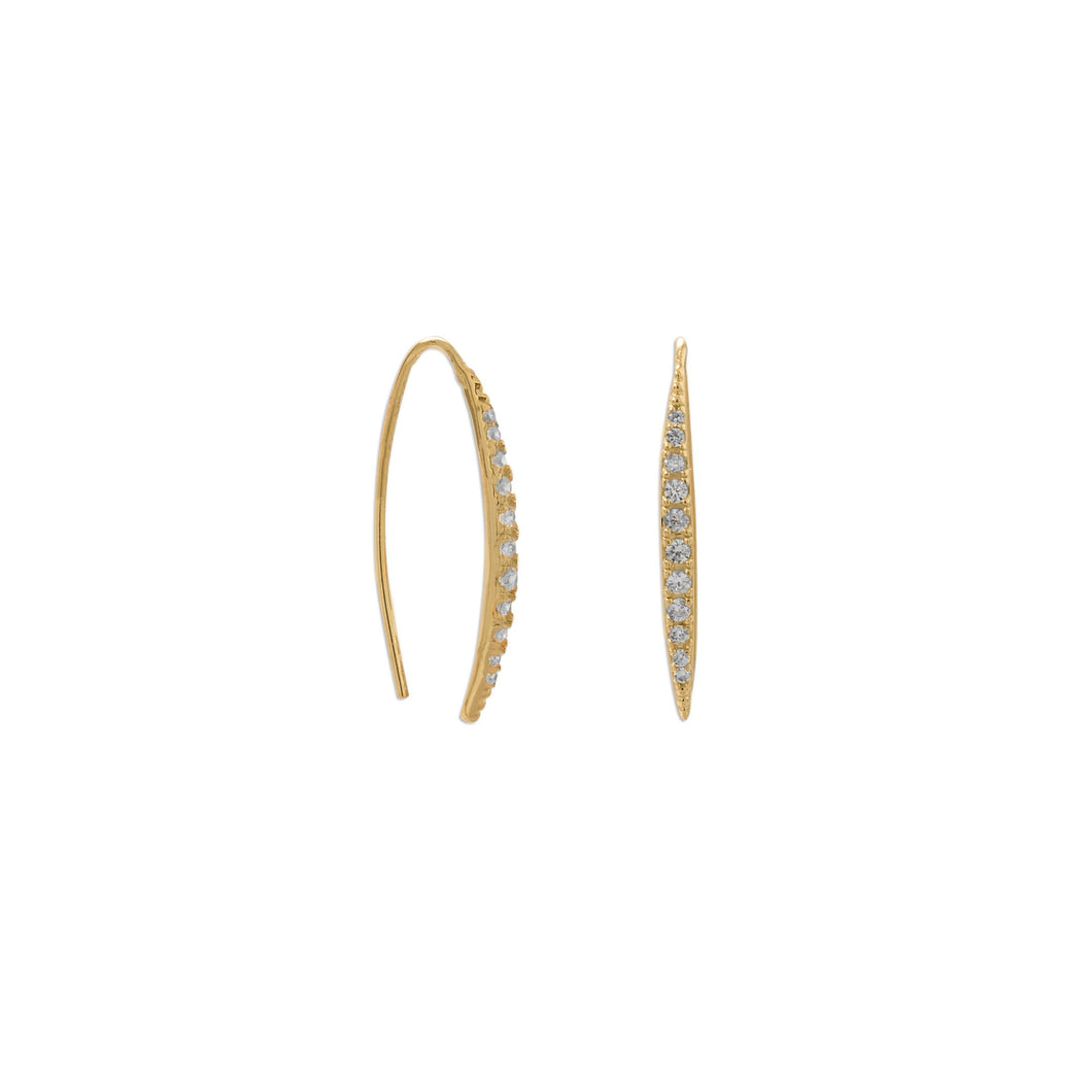 14K Gold Plated Graduated CZ Vertical Bar Earrings - Lierre Bridal Accessories