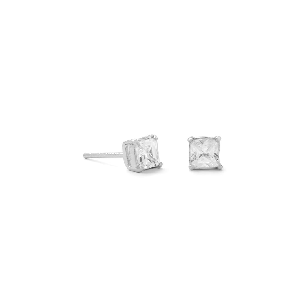 4mm Square CZ Stud Earrings - Lierre Bridal Accessories