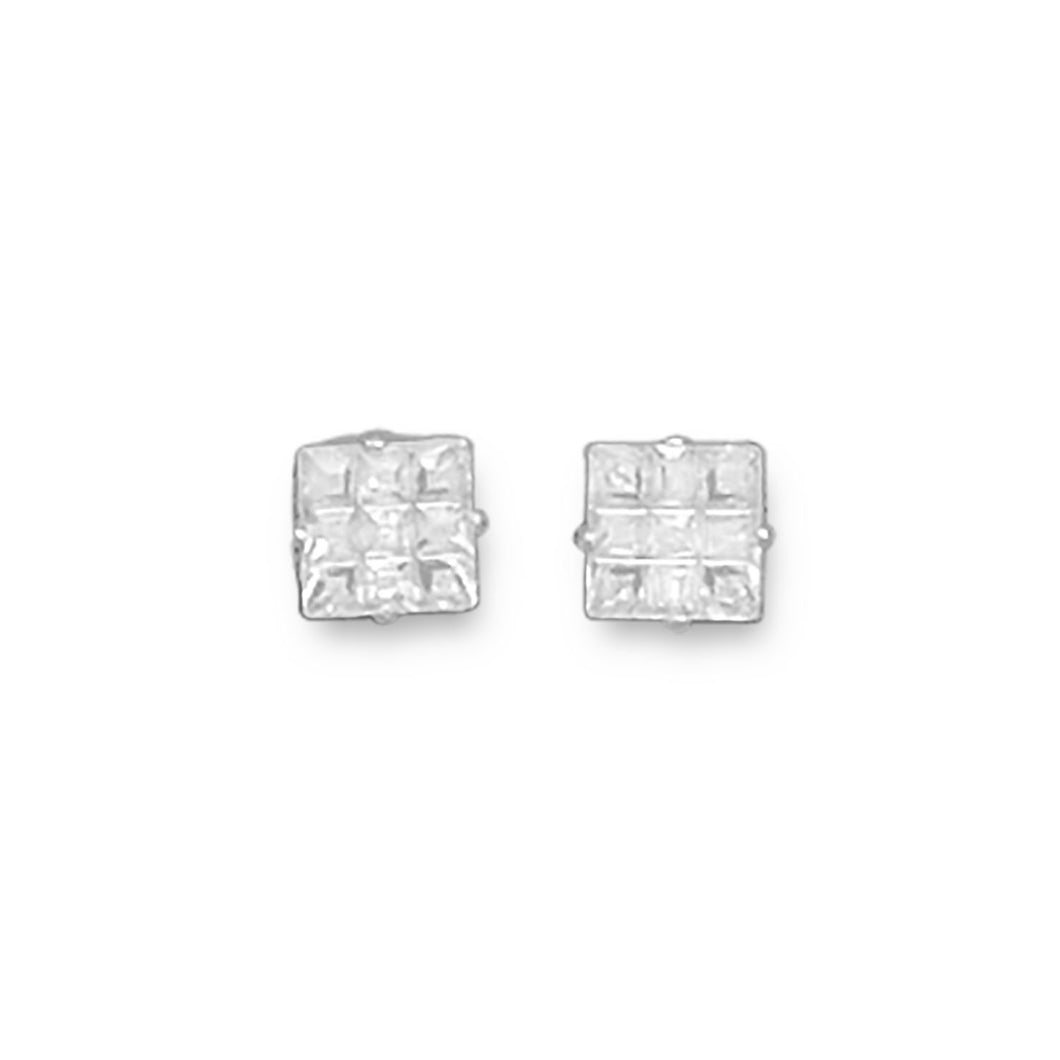 5mm 9 Cut Square CZ Earrings - Lierre Bridal Accessories